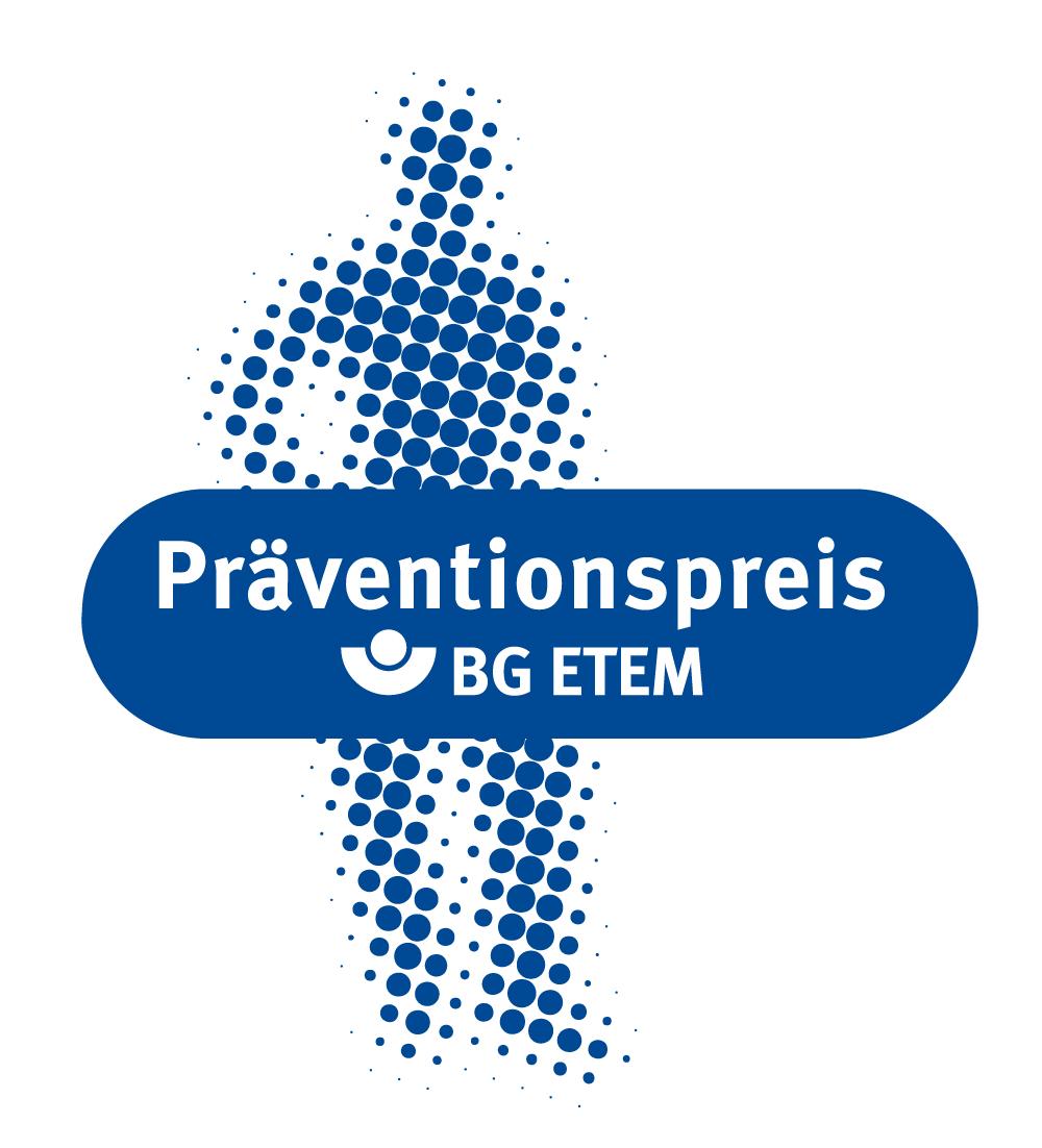 Das Logo für den Präventionspreis der BG ETEM zeigt ein Personensilhouette in blauen Punkten mit einem Banner mit der Aufschrift: Präventionspreis BG ETEM.