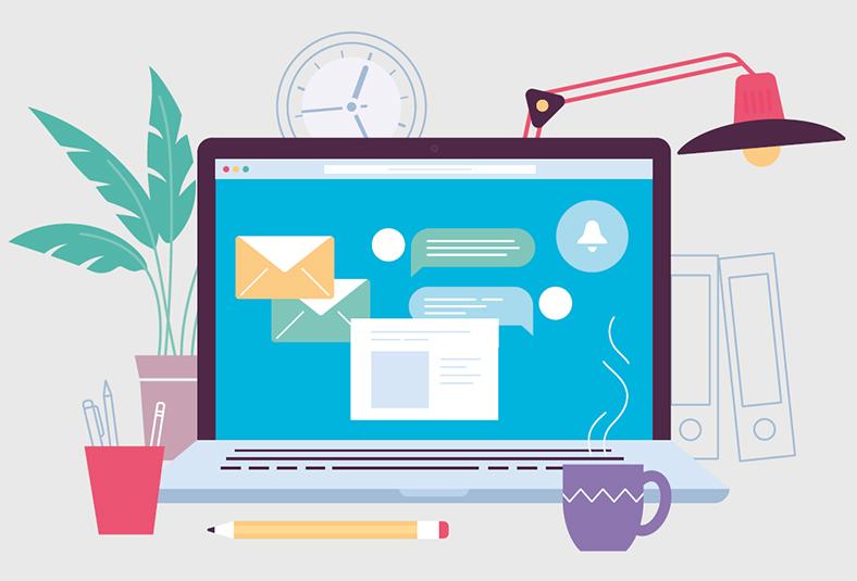 Grafik Schreibtisch im Home-Office mit Notebook, Uhr, Lampe, Tasse und Pflanze.