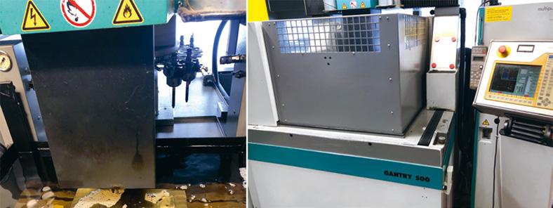 Zwei Ausschnittsbilder einer Erodiermaschine, links mit Wasser und glänzenden Metallteilen, rechts mit Bedienkonsole und Verkleidung.