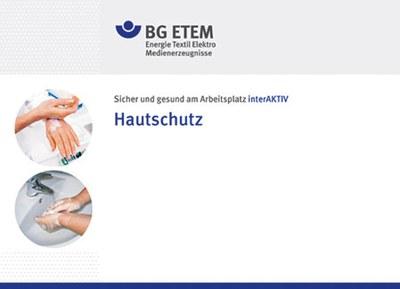 Ansicht des Online-Lernmoduls der BG ETEM zum Thema Hautschutz, Startbildschirm. Links sind zwei runde Fotos zu sehen mit Szenen von Händewaschen und -eincremen.