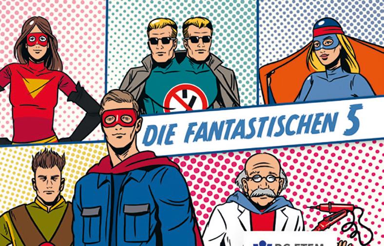 Mehrere Comic-Superhelden sind in gerasterten Bildfeldern verteilt. Ein Banner zeigt die Aufschrift: Die Fantastischen 5.
